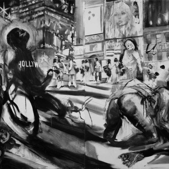 Rape in times square 2010. Oil on linen. 140cm x 360cm