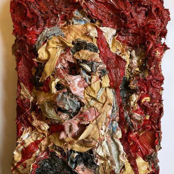 Self Portrait with Red. Oil on canvas. 17.4cm deep Height 63.5cm Width 53.3cm2017